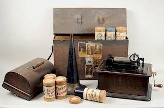 Edison Cylinder Phonograph & Records