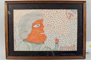 "Inez Nathaniel Walker ""Lady & Flower"" Drawing"