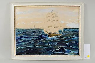 """H.B. Page """"Ship & Lighthouse"""" Gouache on Paper"""