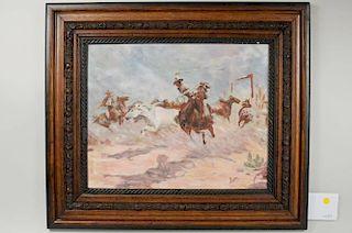 """Western Illustration """"Rounding Up Horses"""" O/B"""