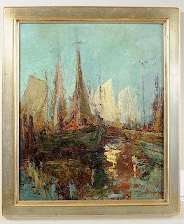 """Jeanette Agnew Lyon""""Sailboats"""" O/B"""
