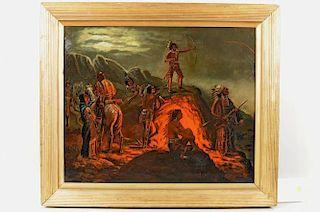 Folk Art Native American Campfire Scene, O/C