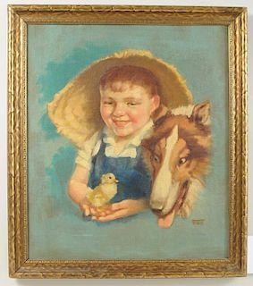 "Dorothea Fox ""Farm Boy, Collie and Chick"" O/C"