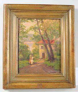 "Ernest F. Meyer ""Figures, House, Lake"" O/B"