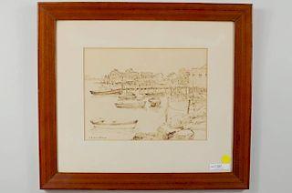 "C.G. Harris ""New England Shore Scene"" Sepia Sketch"