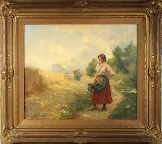 """Georges Laugee """"The Gleaners"""" O/C"""