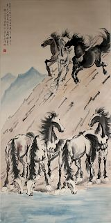 Chinese Scroll Painting of Horses, Xu Beihong