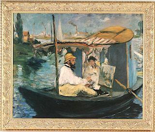 After Edouard Manet, Claude Monet Floating Studio