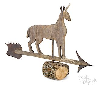 Carved and painted stag weathervane