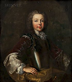 Continental School, 17th Century  Portrait of a Young Nobleman in Armor