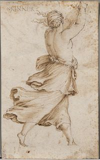 Italian School, 16th/17th Century  Striding Half-nude Female Figure Seen from Behind