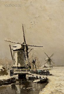 Louis Apol (Dutch, 1850-1936)  Molen in Winter