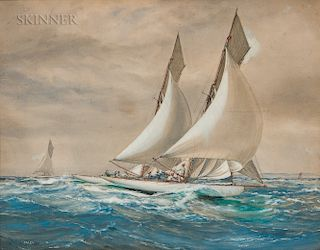 Montague Dawson (British, 1890-1973)  Racing Yachts