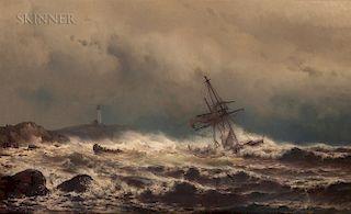 Mauritz Frederik Hendrik de Haas (American, 1832-1895)  Ship Aground - Crew Abandoning Ship
