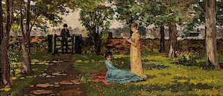 American School, 19th Century  Gentleman Calling at the Garden Gate