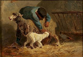 John Gardner Low (American, 1835-1907)  Herder with Ewe and Lamb