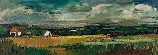 Hans Peter Kahn (American, 1921-1997)  Broad Summer Landscape with Farm
