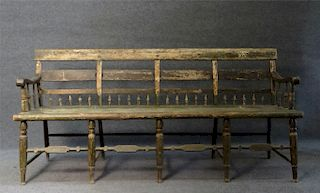 PLANK SEAT 1/2 SPINDLE BACK 19THC BENCH IN OLD