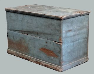 "BLUE WOOD BOX W/ HINGED LID 24""X37"" W X 18""DEEP"