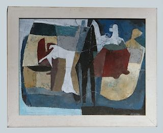 """O/BD UNTITLED ABSTRACT SGND STANLEY BATE 20"""" X 26"""""""