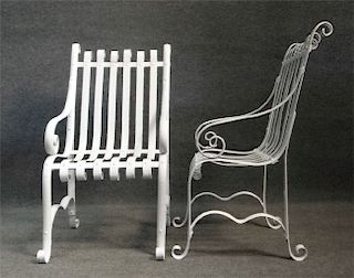 PR OF VINTAGE IRON STRAP LAWN CHAIRS