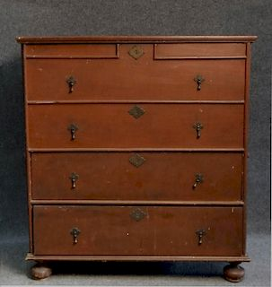 RED BLANKET CHEST OVER 2 DRAWERS , REPLACED