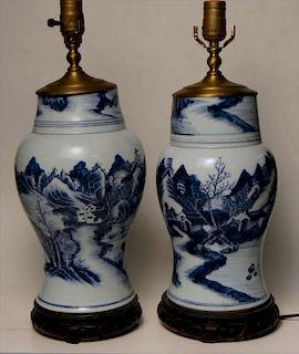 PR OF ORIENTAL BLUE & WHITE PORCELAIN LAMPS