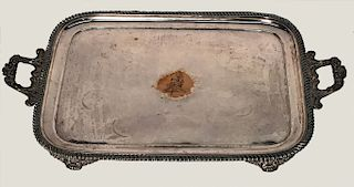 19THC. SHEFFIELD PLATE BUTLER'S TRAY