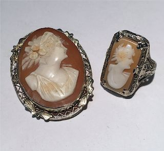 CAMEO RING & PIN  BOTH IN 14 KT WHITE GOLD