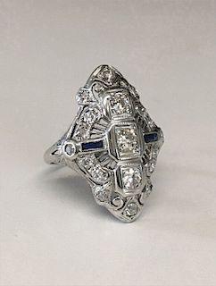 WHITE GOLD FILIGREE DIAMOND RING W/ SAPPHIRES