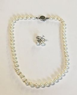 """16"""" STRAND OF 7MM PEARLS & PR. OF 8 1/2MM PEARL"""