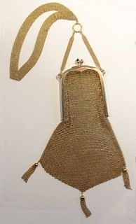 MARKED 15K YELLOW GOLD PERIOD MESH EVENING PURSE