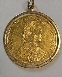 AUSTRIAN GOLD COIN IN 18K GOLD PENDANT FRAME