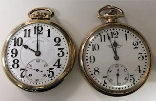 2 RAILROAD GRADE GOLD FILLED POCKET WATCHES