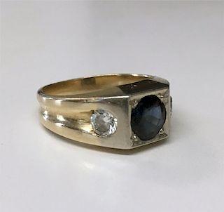 SAPPHIRE & DIAMOND SET IN 14KT GOLD RING