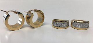 2 PR OF GOLD HOOP EARRINGS, 1 W/ PAVE DIAMONDS