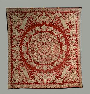 """RED & WHITE """"BIRD OF PARADISE"""" COVERLET, DATED"""