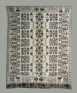 """BL & WH COVERLET """"PROPERTY OF LEAH DEMAREST, 1834"""