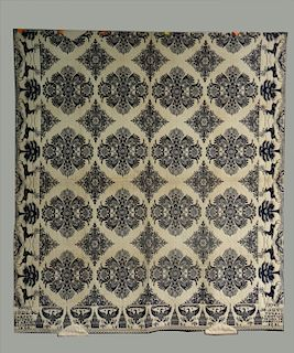 BLUE & WH COVERLET, WOVEN AT THE ITHACA CARPET