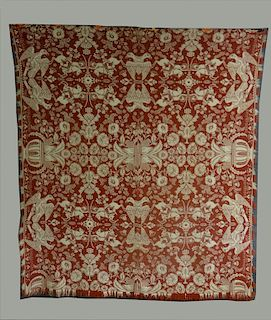 """RED & WHITE """"EAGLE & STARS"""" COVERLET DATED 1839"""