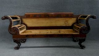 CLASSICALLY CARVED LATE FEDERAL SOFA