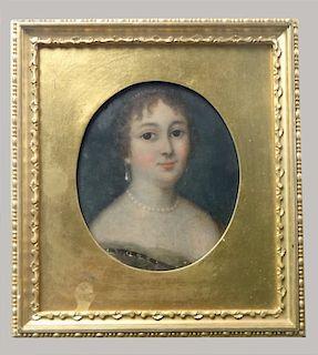 O/PANEL MINIATURE OVAL PORTRAIT OF A LADY