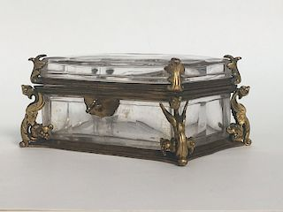 FRENCH CRYSTAL & FIRE GILDED BRONZE DRESSER BOX