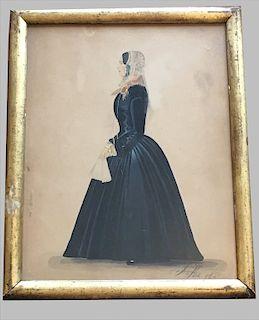 """WATERCOLOR """"WOMEN IN PROFILE"""" SGND J. KIRK 1851"""