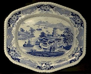 """BLUE & WHITE """"INDIA TEMPLE"""" PATTERN STAFFORDSHIRE"""