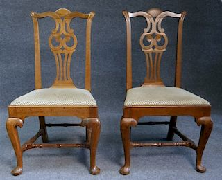 """PR OF 18THC. CT QUEEN ANNE """"OWL BACK"""" CHAIRS"""