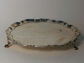 18THC. ENGLISH STERLING SILVER FOOTED SALVER