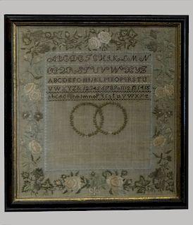 1825 NEEDLEWORK SAMPLER W/ FOLLETT FAMILY REGISTER