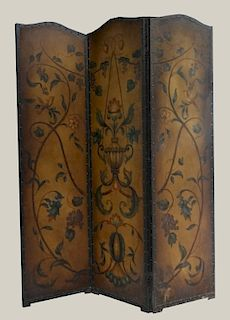 3 FOLD LEATHER SCREEN PAINTED W/ BIRDS & GRAPEVINE