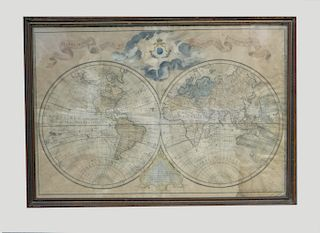 1755 MAP OF THE WORLD IN 2 HEMISPHERES BY THE KING